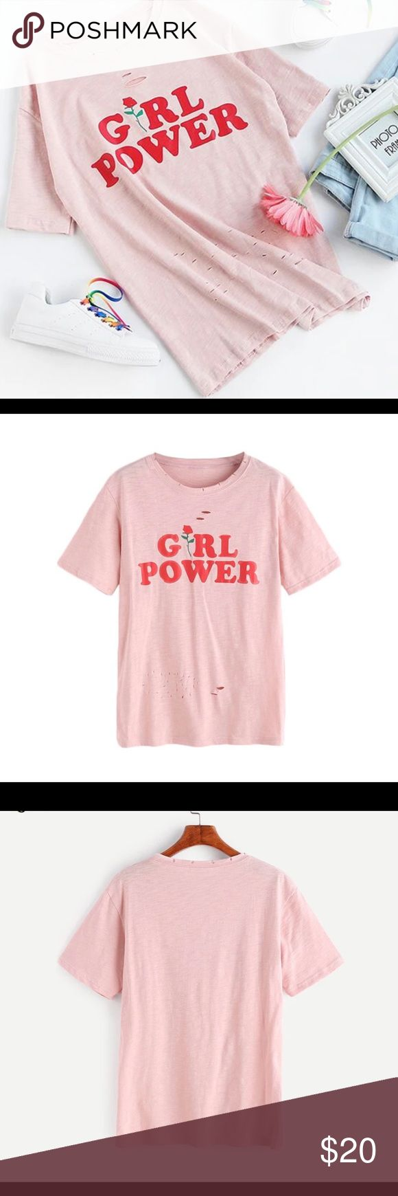 Pink Letter Rose Print Short Sleeve Ripped T-shirt Womens Tee Shirts Top Women Fashion Summer Ladies Pink Letter And Rose Print Short Sleeve Ripped T-shirt. Find it cheaper in my ebay 👉🏻 12.00$ + free shipping.  https://www.ebay.com/i/263222373635 ROMWE Tops Tees - Short Sleeve