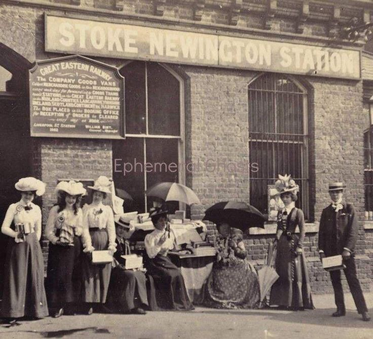 c1899 - Suffragettes (members of women's right to vote movements) outside Stoke Newington Station