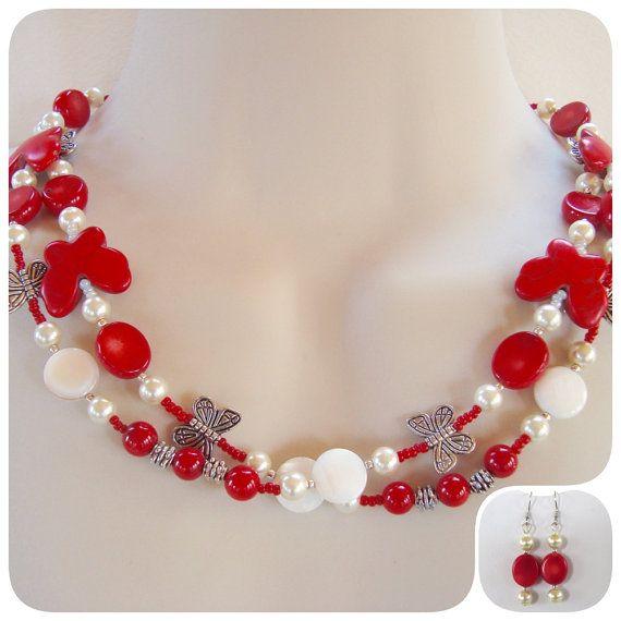 Rode Vlinder ketting, rode en witte ketting, lange ketting, vrouwen geschenken, Resort sieraden, geschenken, enkele of dubbele ketting, carrière slijtage