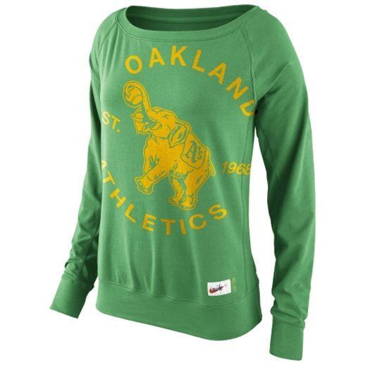 Nike Oakland Athletics Ladies Cooperstown Washed Epic Crew Fleece Sweatshirt - Green