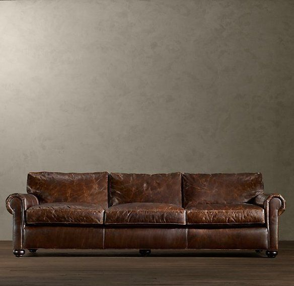 """Restoration Hardware, """"Lancaster"""" Leather Sofa – this thing'sbig! Description from furniturecritic.wordpress.com.   I purchased the replica from leather group for much less, and got it customized."""