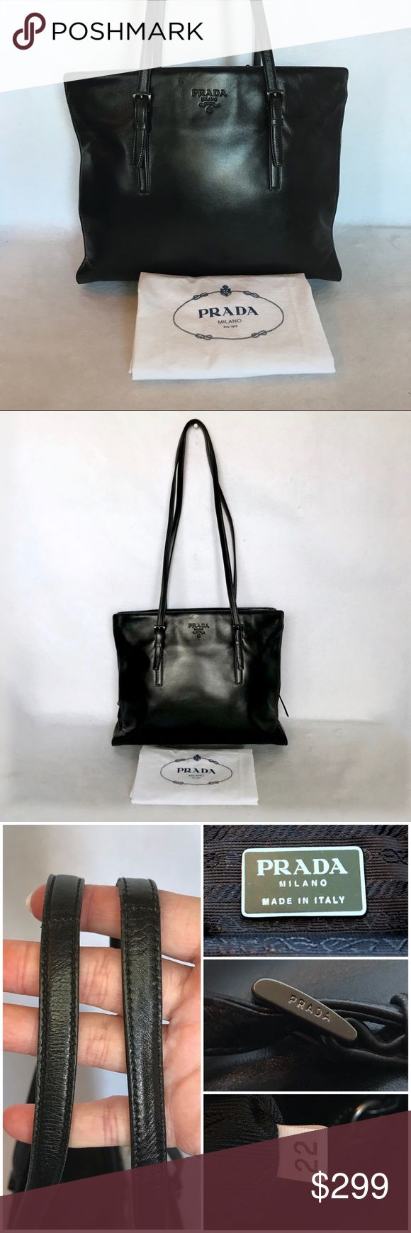 """PRADA Nappa Leather Shoulder Tote w/ Dust Bag 👉 TRADE VALUE: $399  Very gently used. Shows only minimal wear.  Super soft nero black calfskin & gun metal embossed hardware. Features 3 compartments: two are open & the center has a zip closure. Flat shoulder straps with buckle detail. Embossed logo on front.  Length: 12.5"""" Height: 9.5"""" Depth: 4"""" Strap Drop: 13.5"""" Prada Bags Shoulder Bags"""
