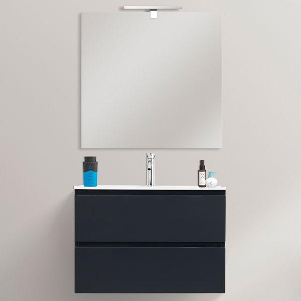 Mobile Bagno Fire2 70x35 5 Ultraslim Sospeso Moderno Con Specchio