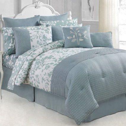 Amazon.com - Victoria Classics Shadow Vine 12-Piece Comforter Set, King, Blue/White - Bedding Collections