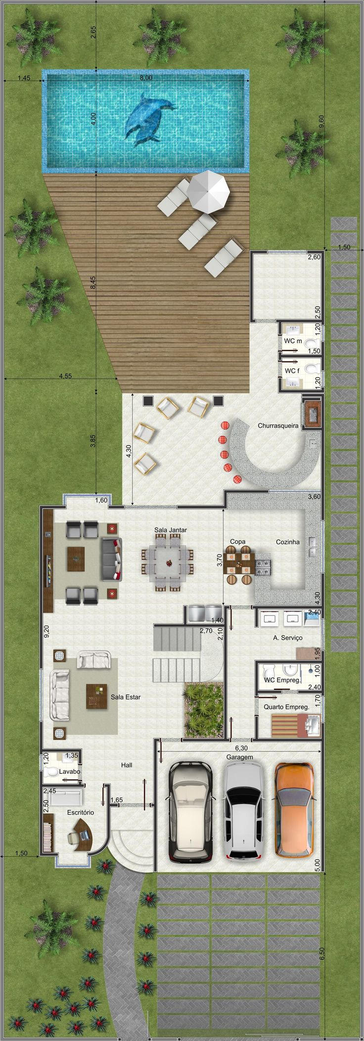 Planta de Sobrado - 4 Quartos - 326.61m² - Monte Sua Casa