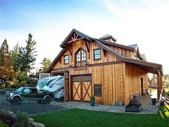 This Enchanting Barn Home Was Custom Designed And Built By DC Builders In Sandy Oregon Its Wood Siding Timber Framed Design Show Off Two Of