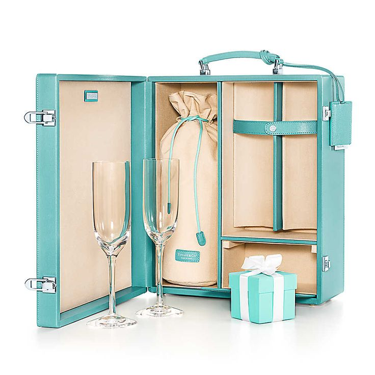 Whoa! A Tiffany Champagne Case... including a little compartment for a Tiffany Box for the special celebration!