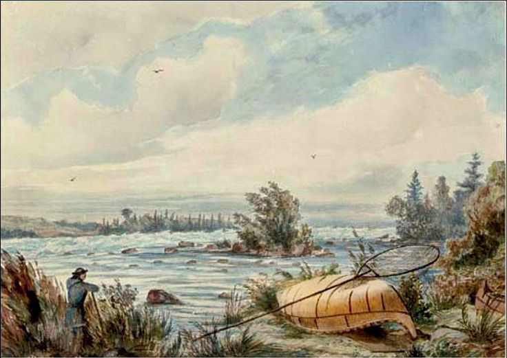 Rapids at Sault Ste. Marie [Ontario] by artist William W. Armstrong (1822-1914)