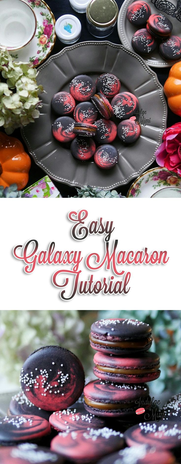 Easy tutorial on Multi Colored Galaxy Macarons using Indulge with Mimi's Best Macaron Recipe