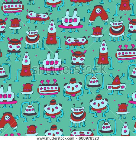 A pattern of robots - aliens. Vector illustration. Fantastic colorful aliens from another planet.