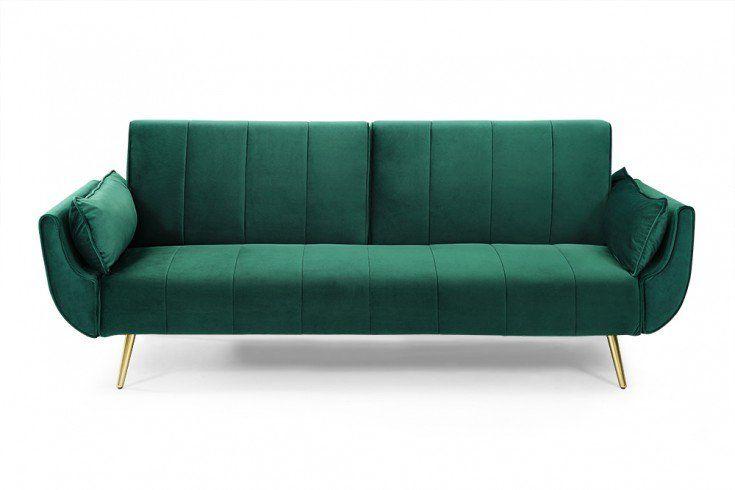 Design Schlafsofa Divani 215cm Smaragdgrun Samt Bettfunktion 3er Sofa Retro Design Riess Ambiente De 3er Sofa Schlafsofa Grun Sofa