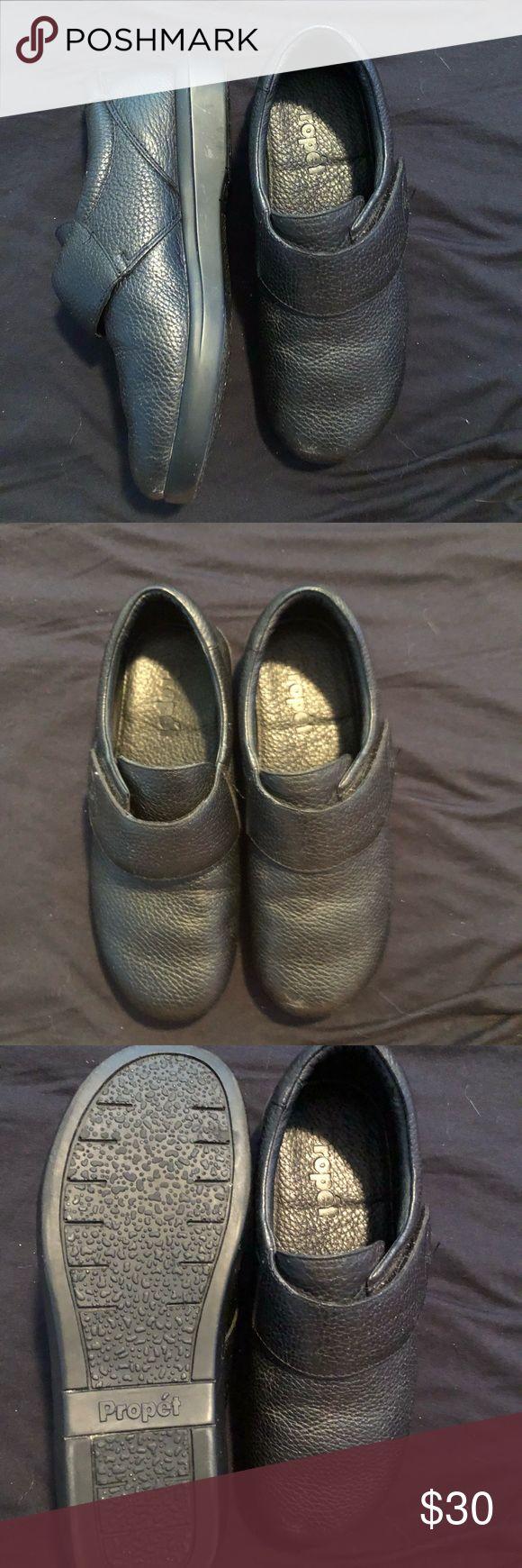 Black Propét Leather Velcro shoes Worn once black propét leather shoes with Velcro Propet Shoes Mules & Clogs