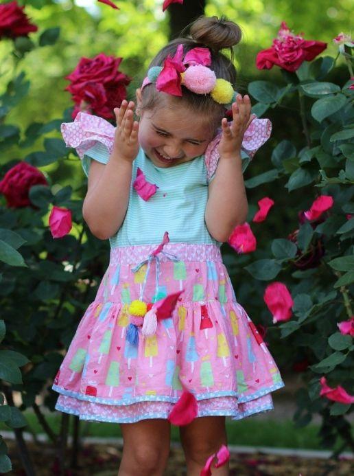 Zoe Mint Stripe Princess Ice Cream Dress