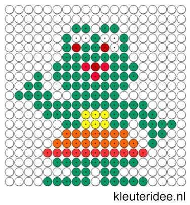 Kralenplank kikker, kleuteridee.nl / Kralenplankje kleuters / Beads patterns…