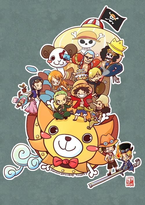 Cute version of One Piece characters and the Thousand Sunny