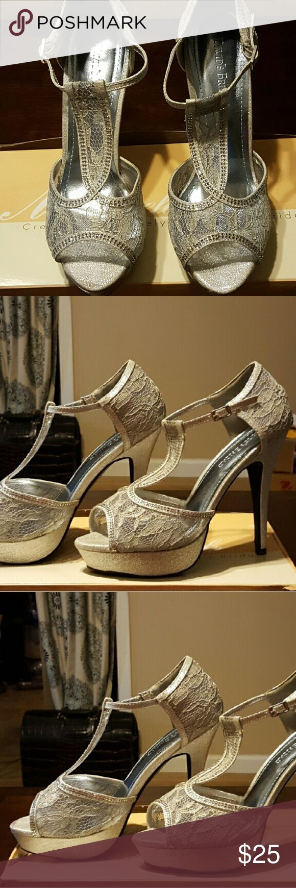 Silver bling heels Beautiful silver bling heels. Prom, wedding, etc.. Worn once. Size 8.5. Very beautiful and sexy on. Davids Bridal Shoes Heels