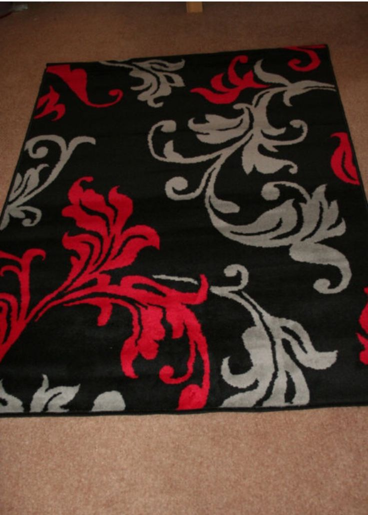 Red, Silver, And Black Rug