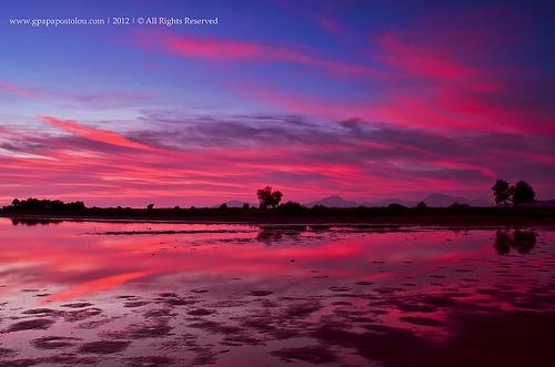 reflection of sunset colours - Tingaki, Kos, Greece