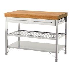 IKEA - RIMFORSA, Work bench, Gives you extra storage, utility and work space.Adjustable feet make it possible to compensate any irregularities in the floor.The bottom shelf is designed for storing pots and pans.The hooks on the side of the workbench are perfect for hanging for example kitchen utensils or tea towels.You can adjust the shelves to suit your needs.