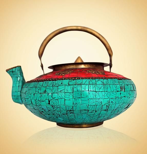 Turquoise and Red Tibetan Kettle @devotionalstore