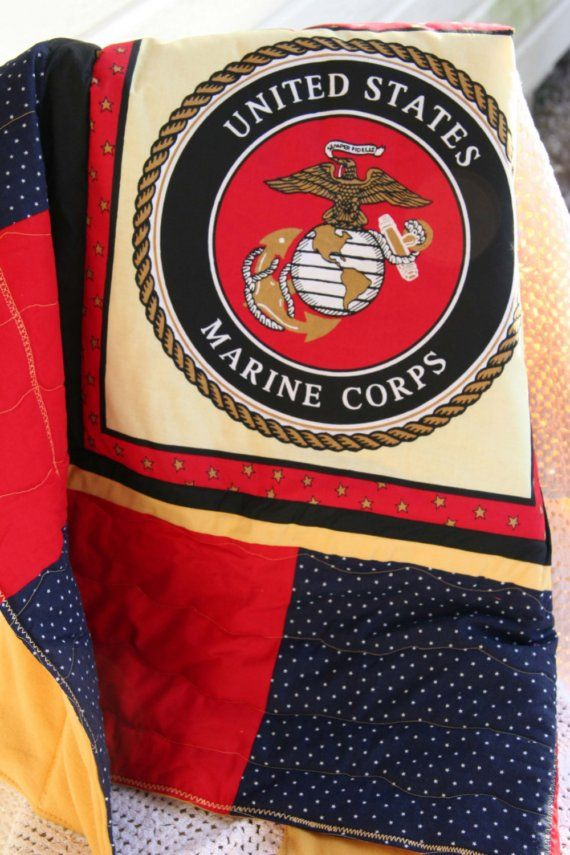 marine corps quilt | Marine Corp Emblem Baby Quilt