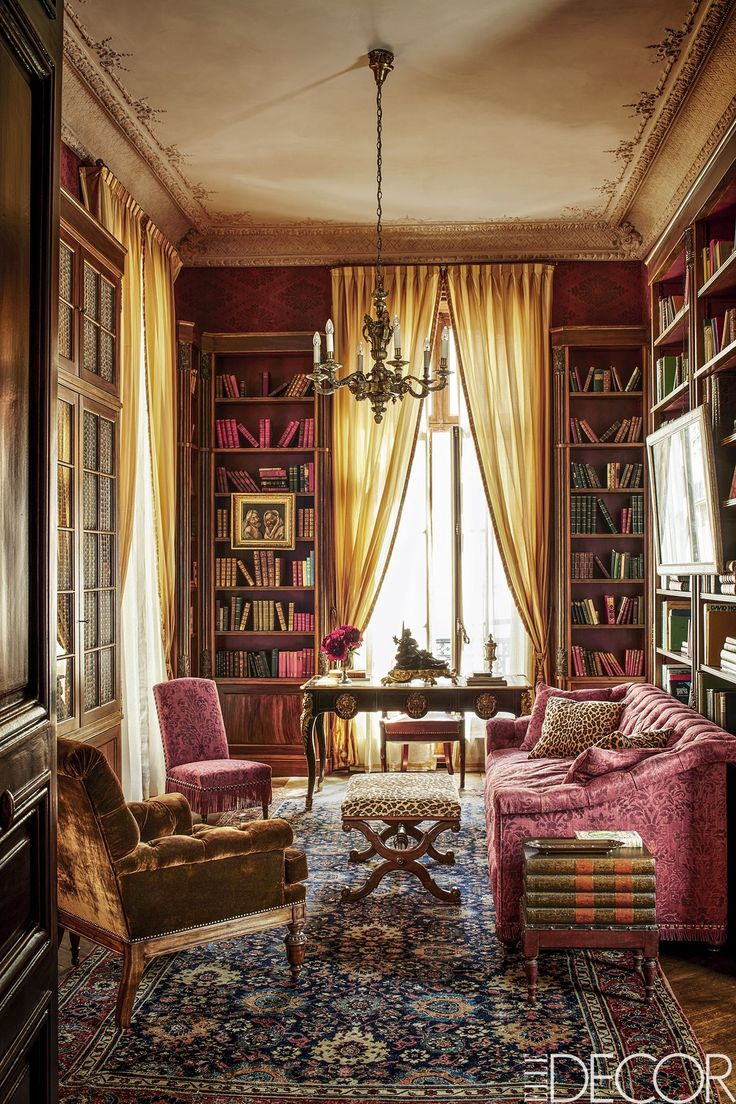 House Tour: A Paris Apartment Brimming With Architectural Gems - ELLEDecor.com.  Pascal Chevallier	  In the library, the sofa is upholstered in a cotton damask, the armchair is covered in a silk velvet and the slipper chair is based on a Mongiardino design; the desk is Louis XV, the chandelier is Louis XIV and the 19th century rug is Persian.