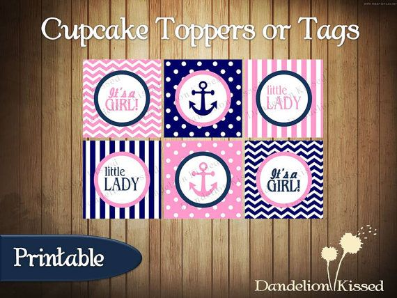 Pink Blue Nautical Anchor Itu0027s A Girl Baby Shower Digital Cupcake Toppers  Favor Tags DIY