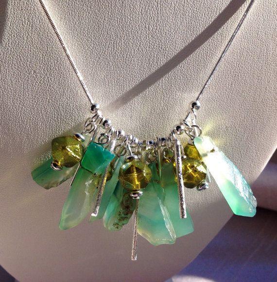 Sterling Silver Aqua Green semi precious Agate by JewelryByShari, $110.00