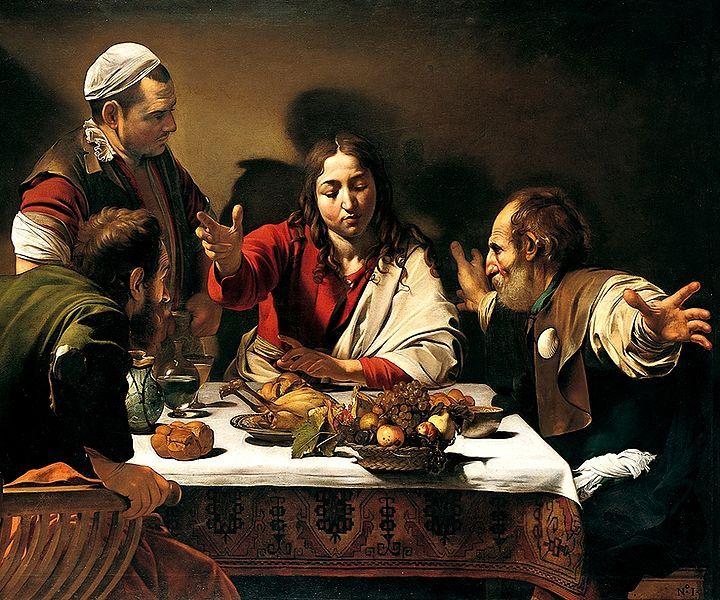 Carravaggio Supper at Emmaus, 1601 I love the colours in Carravaggio's work.