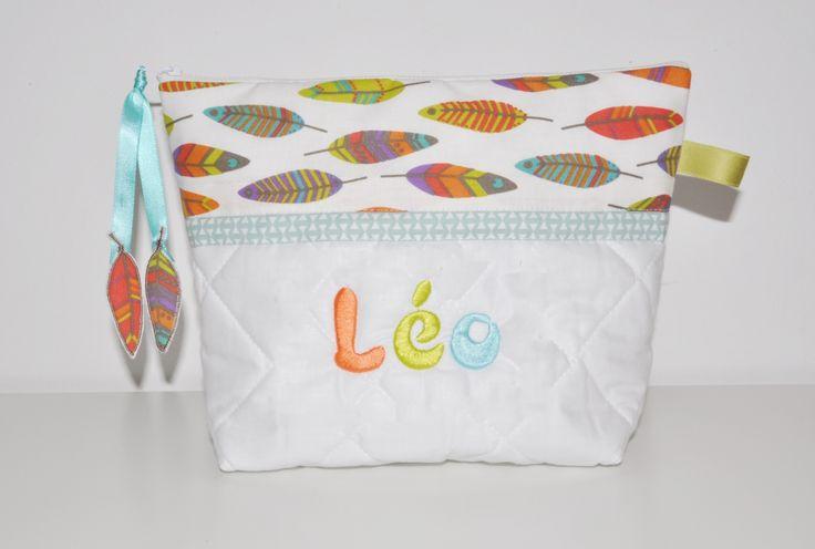 Trousse de toilette enfant ou bébé plume pour petit indien (fille ou garçon)personnalisée brodée : Puériculture par lbm-creation