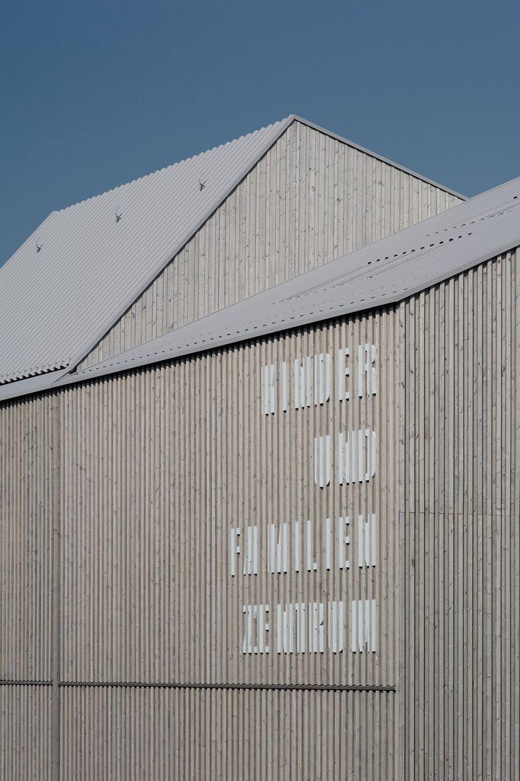Alternating roofs break down scale of Von M's slatted timber kindergarten