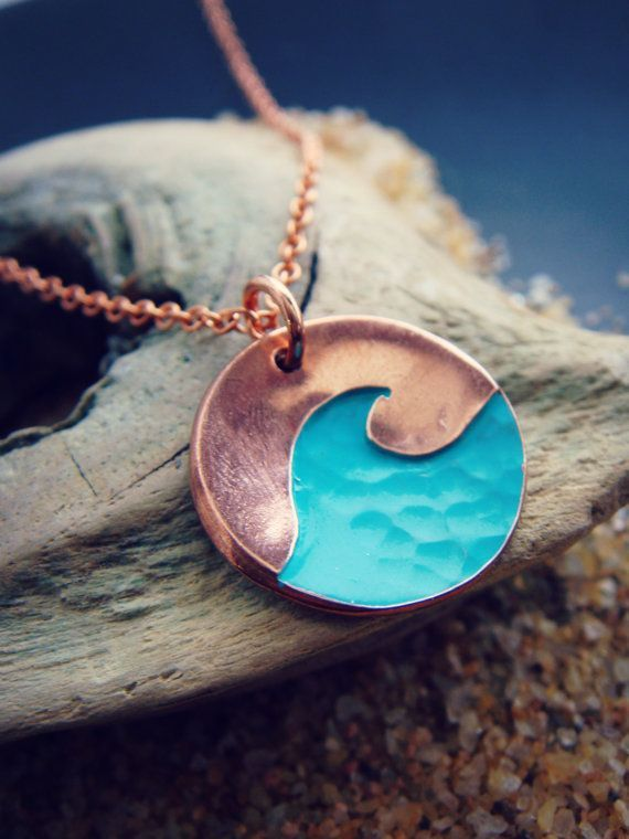 Textured Wave Pendant in Sterling Silver or Copper by sprout1world