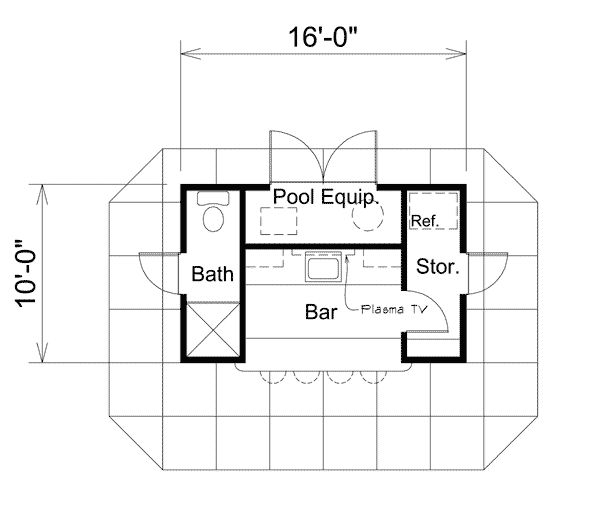 Coolwater pool cabana with bar sheds storage and floor for Pool cabana floor plans