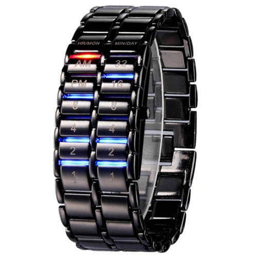 Recent Ferreous watch with Blue LED for Man (Black) - Free shipping - Zufal.com