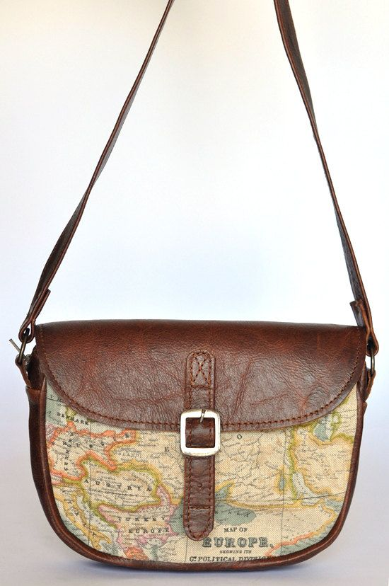 Genuine Leather and World Map Atlas Print Bag by DoubleEdge, $45.00