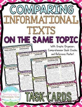 16 sets of paired passages (32 informational passages total) to help students compare texts on the same topic or event. Each card includes two passages with an overall main idea and also an individual focus to each passage.$