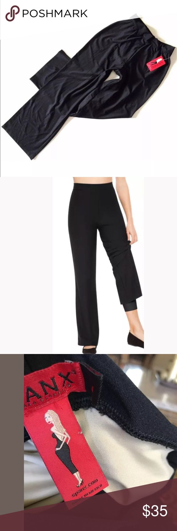 New spanxs pants with built in liner Spanx Bod A Bing Pants with Secret Slimming Liner  Black - Size 12-14 New with Tags wide leg pants SPANX Pants Wide Leg