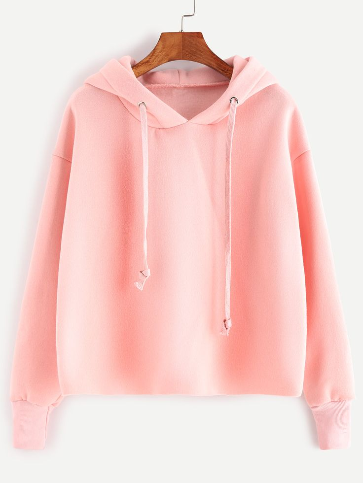 Shop Pink Drawstring Hooded Sweatshirt online. SheIn offers Pink Drawstring Hooded Sweatshirt