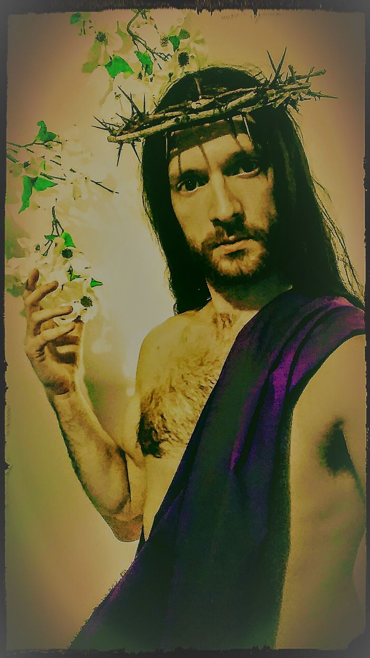 Jesus costume purple sash robe crown of thorns Easter resurrection old rugged cross model guy guys