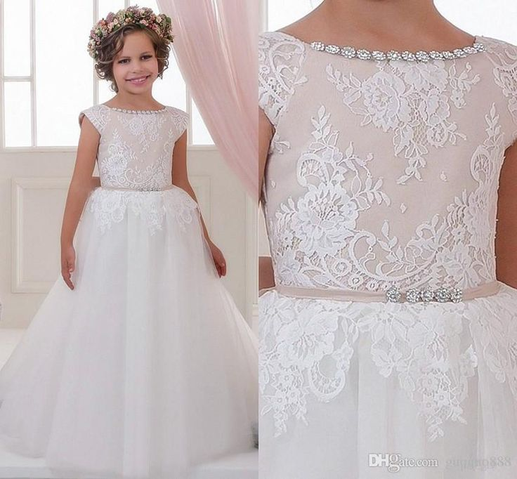 The girls dressy dresses which match the flowers-2016 lace rhinestones flower girl dresses crew ball gown children wedding dresses elegant little girl pageant dresses is offered in guoguo888 and on DHgate.com girls wedding dress along with ivory tulle flower girl dress are on sale, too.