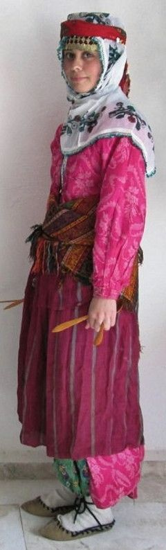 Traditional festive costume from the Tefenni district (southwest of Burdur).  Style: mid 20th century.  These are recent workshop-made copies, as worn by folk dance groups.
