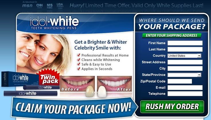 Get your FREE 30 day supply of teeth whitening system shipped straight to your door and get the great white smile you ever had! Whiter teeth in three easy steps   1. Brush your teeth   2. Twist the pen to despense gel   3. Apply to teeth   You'll be enrolled in our Free Unlimited Refill program that allows you to get a fresh supply of Idol White whenever you want >> How to get brighter teeth --> http://healthadvert.com/F9E56BA3?api_opt1=4889_opt2=5888593