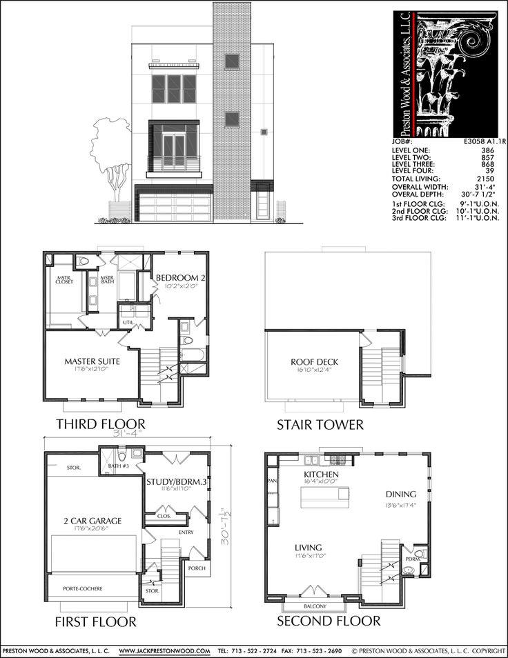Townhouse Plan E3058 A1 1 Architectural floor plans