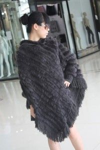 Wish | Fashion Women's Real Rabbit Fur Knitted Cape Poncho Amice