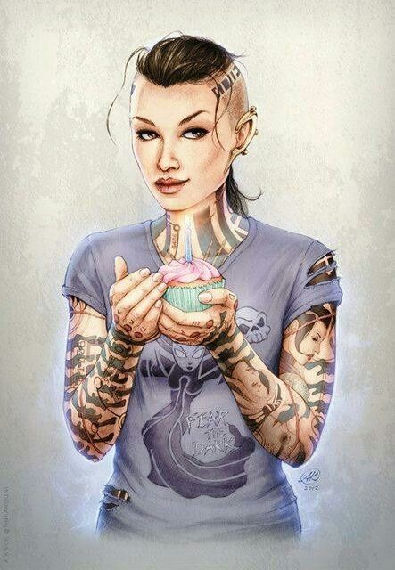 Mass Effect / Mass Effect - Jack with a cupcake
