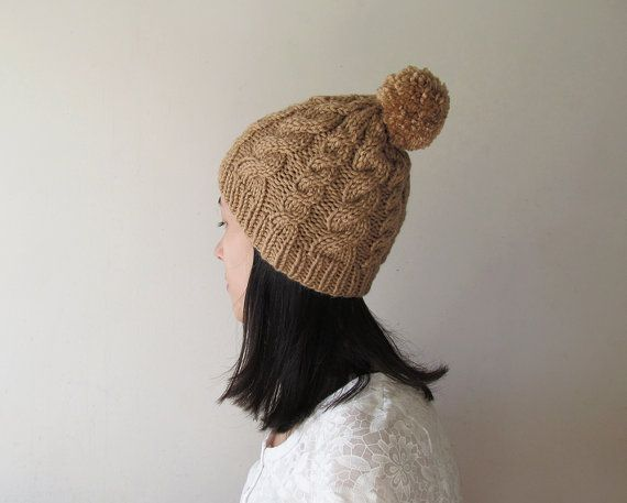 Hand Knitted Cable Hat in Camel Chunky Beanie with Pom Pom