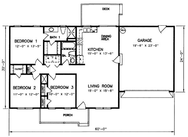 Style house plans 1200 square foot home 1 story 3 for 3 bedroom 2 bath 2 car garage floor plans