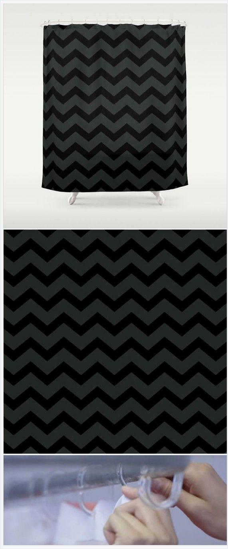 Black And Grey Chevron Shower Curtain   Black Shower Curtain   Dark Grey Bathroom  Decor   Part 76