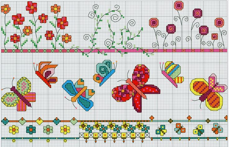 Bright Borders (Part 1) free cross stitch pattern from www.coatscrafts.pl