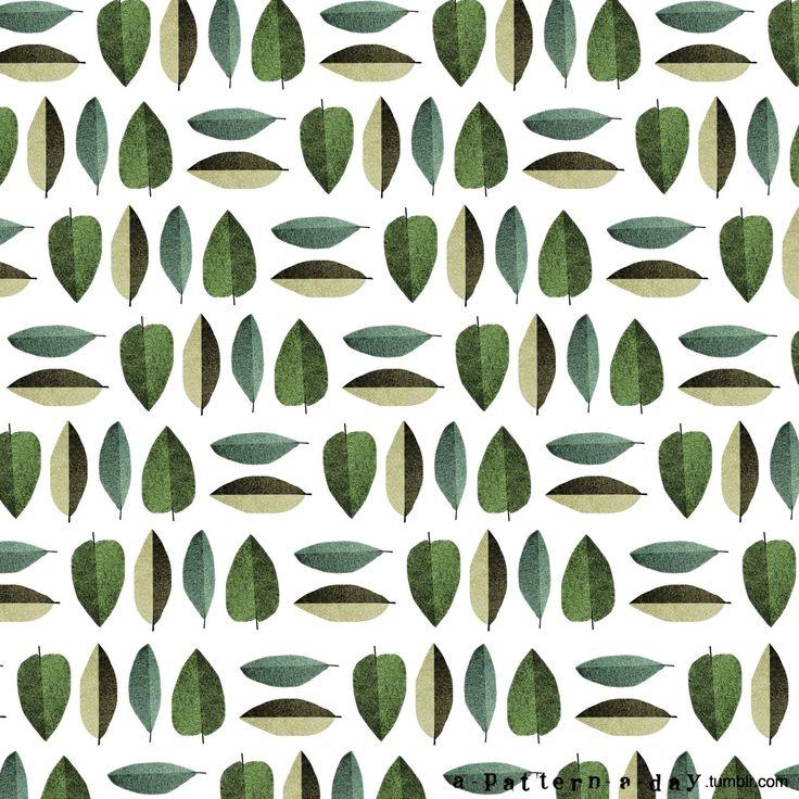 illustration leafs pattern - - www.a-pattern-a-day.tumblr.com